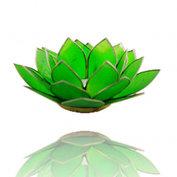 Theelicht houder met gouden rand - chakra 4 - groen
