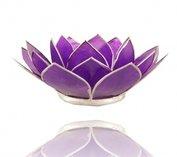 Theelicht houder met gouden rand - chakra 7 - violet