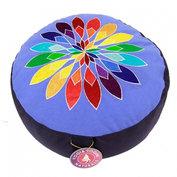 Meditatiekussen: blauw met veelkleurige bloem