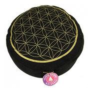 Meditatiekussen: zwart met gouden levensbloem - Flower of Life