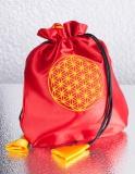Rood Satijnen Zakje met Gele Flower of Life - Levensbloem