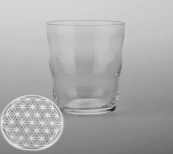 Drinkglas Jasmina met Bloem des Levens - Levensbloem - Flower of Life - Wit