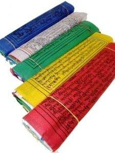 Tibetaanse gebedsvlaggen slinger van 5 vlaggetjes 10 x 12 cm