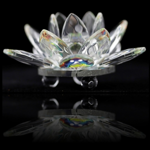 Kristallen Lotus - 9 cm glas feng shui